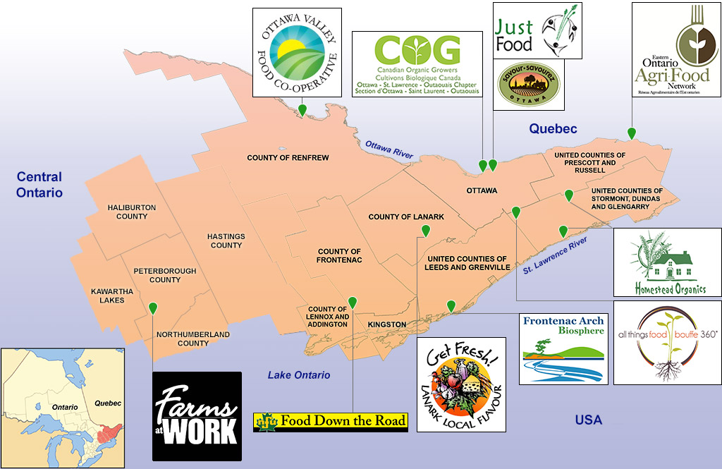 Eastern Ontario Local Food and Farming Collaborative map
